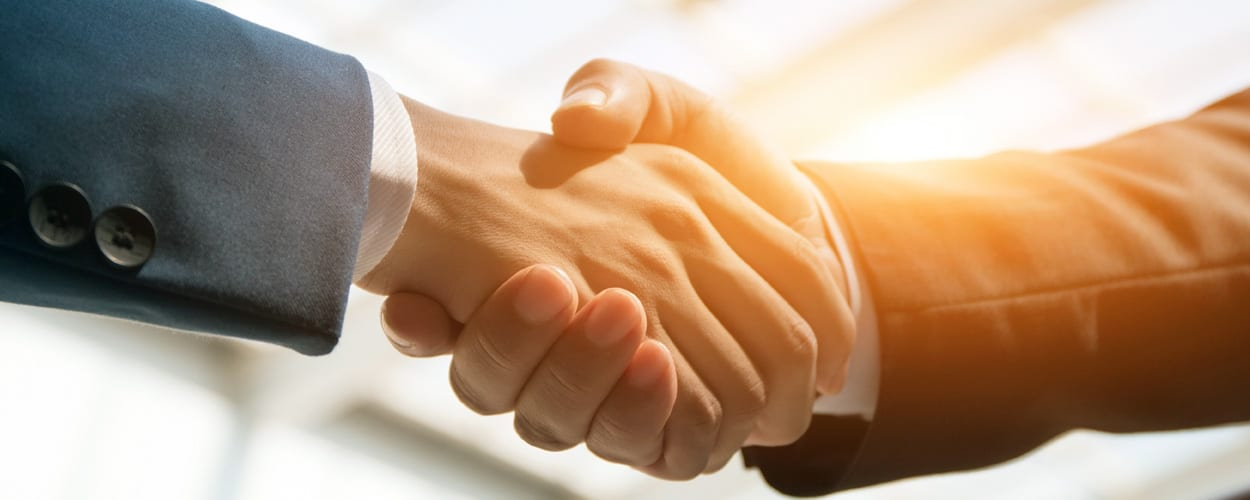 Handshake, two people shaking hands, only hands displayed